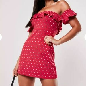 NWT red polka dot bardot frill dress